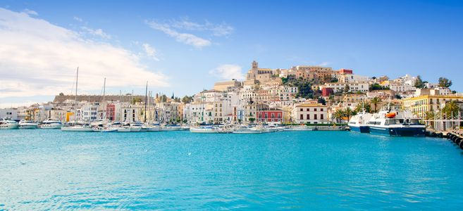 eivissa ibiza town with church under summer blue sky image id 105799337 1422629164 E79C